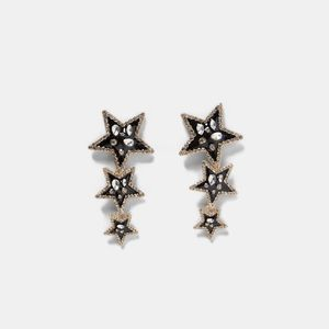 NWT Zara Triple Star Statement Earrings